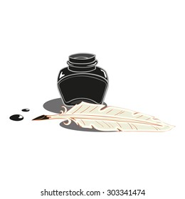 quill pen and inkwell with ink blots isolated on white background vector