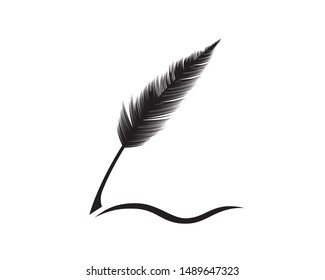 Quill Pen with Writing Gesture Silhouette