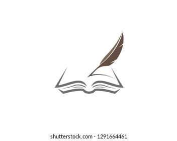 Quill pen writing in the papers on an open book logo