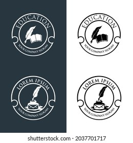Quill pen writing in the papers on an open book logo. education logo icon design. suitable for company logo, print, digital, icon, apps, and other marketing material purpose. education logo set.