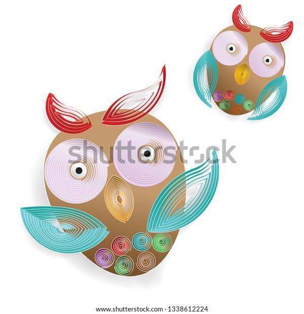Quilling paper: Colorful Owls over on white background : vector flat design