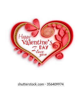 Quilling paper heart. Vector illustration. Happy valentine day card with gold texture