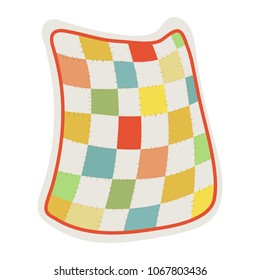 Quilt blanket. Clip art illustration on white background.