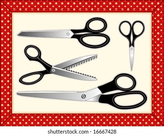 Quilt Frame with scissors, embroidery, dressmaker, pinking and standard shears for needle craft, sewing, tailoring, quilting, do it yourself fashion. EPS8 compatible.