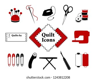 Quilt, Patchwork DIY Icons, pincushion, needle, thread, iron, scissors, bobbins, sewing label and machine, safety pins, rotary cutter, ironing board, seam ripper.