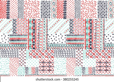 Quilting, patchwork, embroidery, cross-stitch, seamless vector pattern,  quilt,  patch,  patchwork blanket,  fabric pattern.