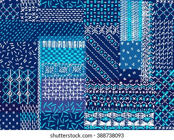 Quilting, patchwork, embroidery, seamless vector pattern.