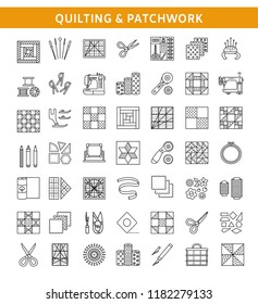 Quilting & patchwork. Supplies and accessories for sewing quilts from fabric squares & blocks. Different tools, patterns for quilters. Vector line icon set. Isolated objects on white background.