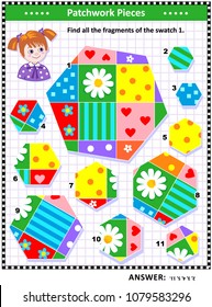 Quilting or patchwork themed IQ and spatial skills training visual puzzle (suitable both for kids and adults): Find all the fragments of the picture 1. Answer included.