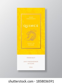 Quince Home Fragrance Abstract Vector Label Template. Hand Drawn Sketch Flowers, Leaves Background and Retro Typography. Premium Room Perfume Packaging Design Layout. Realistic Mockup. Isolated.