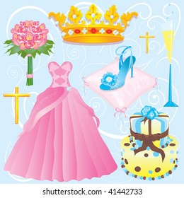 Quinceanera clip art elements for a girls 15th party, Sweet Sixteen party or wedding