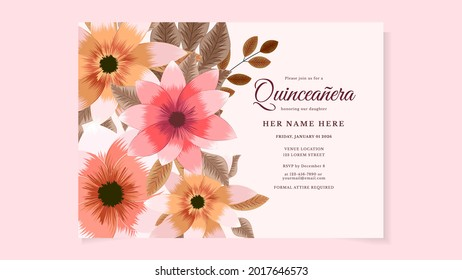 Quinceanera Invite Template for Birthday party of Spanish fifteen 15 year old girl made of colorful spring flowers blossoming joyfully. Ideal for party invitation or greeting card. Vector Illustration