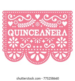 Quinceanera Papel Picado vector design - Mexican folk art birthday party design, paper decoration with floral pattern. Cut out paper template with flowers and abstract shapes, festive floral