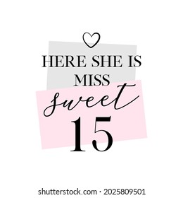 Quinceanera Sweet Fifteen party vector calligraphy design on white background