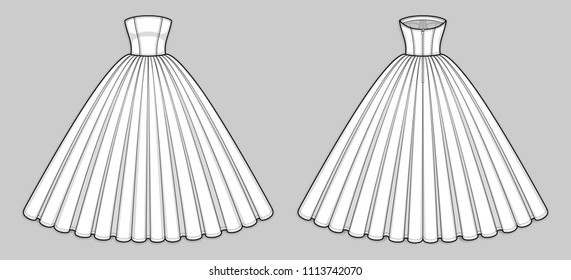 Quinceanera, wedding, ball gown dress. Corset bodice with strapless straight across neckline, seam at waist, back zip clasp, flared skirt with pleats. Back and front. Technical flat sketch, vector.