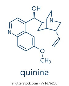 Quinine malaria drug molecule. Isolated from cinchona tree bark. Skeletal formula.