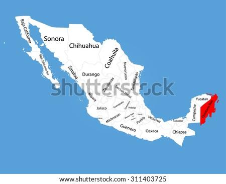 Quintana Roo Mexico Vector Map Silhouette Stock Vector Royalty Free