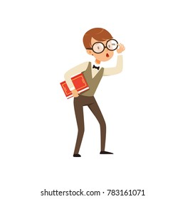 Quirky boy character holding book in hand. Nerd kid with surprised face expression. Smart pupil character dressed in vest, shirt and pants. Flat vector design