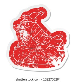 quirky cartoon distressed sticker of a bird sitting on nest wearing santa hat