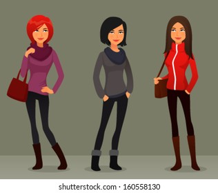 quirky cartoon girls in colorful autumn clothes