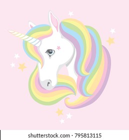 A quirky cartoon unicorn face with rainbow mane. Vector illustration.