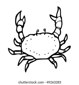 quirky drawing of a crab