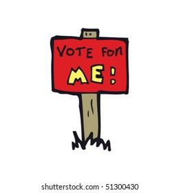 quirky drawing of a election sign