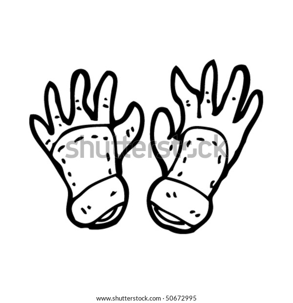 Quirky Drawing Gardening Gloves Stock Vector (Royalty Free