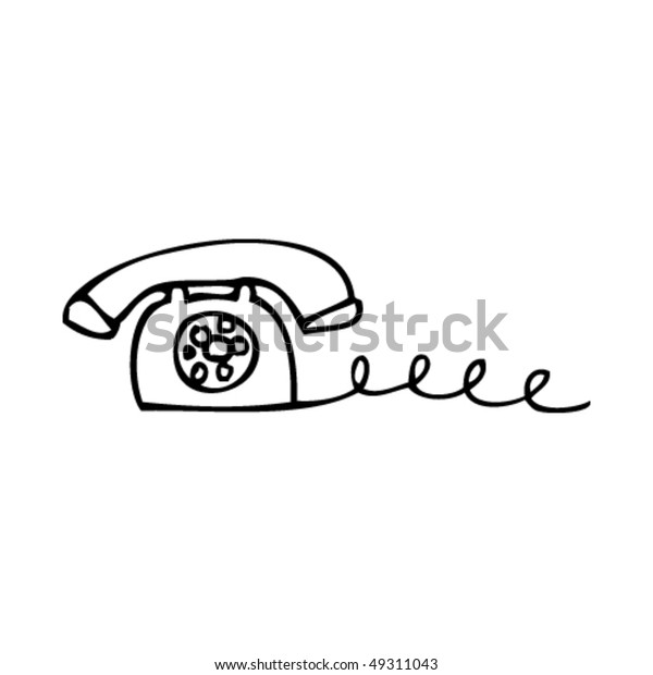 Quirky Drawing Old Telephone Stock Vector (Royalty Free