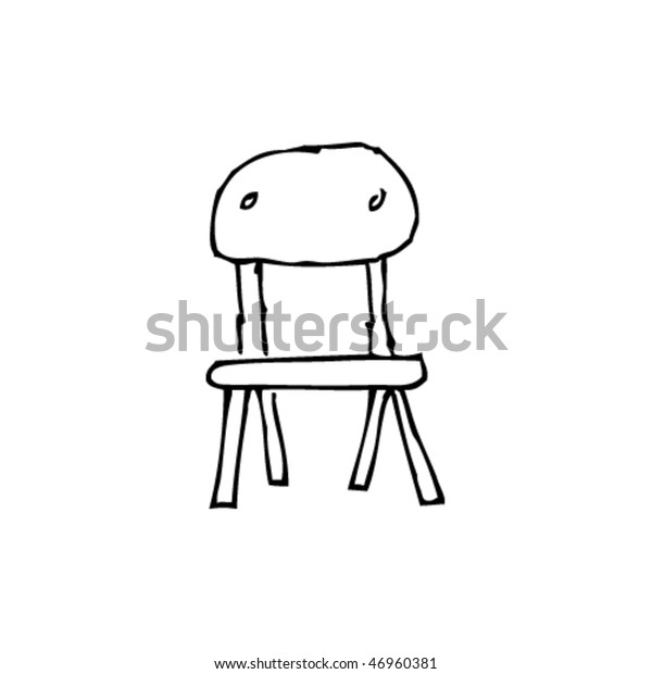 Quirky Ink Drawing School Chair Stock Vector (Royalty Free