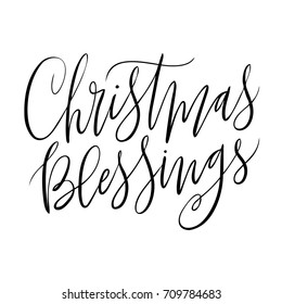 Quirky isolated vector hand written religious Christmas blessings phrase.  Hand lettered calligraphy holiday xmas quote on a white background.