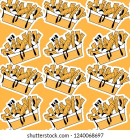 Quisine of Quebec. Poutine: dish consisting of French fries and cheese curds topped with a brown gravy. Seamless background pattern. Vector illustration