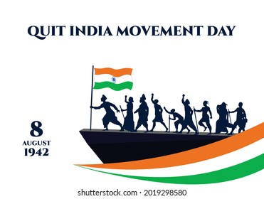 Quit India Movement Day poster or banner. It is celebrated every 8th August. M K Gandhi lead Indians against British-salt tax 400 km Dandi Salt March in 1930 and began Quit India movement. - Shutterstock ID 2019298580