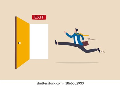 Quit routine job, leaving or escape way for business dead end to be success or exit from work difficulties concept, businessman worker in suit running in hurry to emergency door with the sign exit.