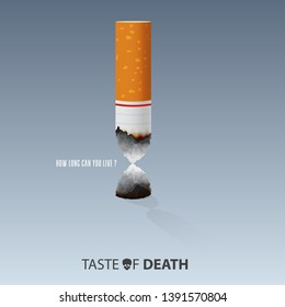 Quit smoking cigarettes. May 31st World No Tobacco Day. Burn cigarettes that are shaped like an hourglass for meaning Time is running out. Stop to smoke cigarettes concepts. Vector Illus