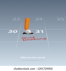 Quit smoking cigarettes. May 31st World No Tobacco Day. Broken cigarette marked date Quit Smoking on calendar 31th May. Stop to smoke cigarettes, anti-smoking concepts. Vector Illustration.