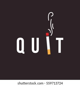 Quit smoking concept. minimal flat vector illustration of burning cigarette. eps 10