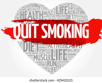 Quit Smoking heart word cloud, fitness, sport, health concept