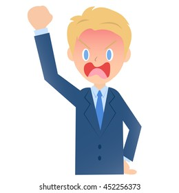 Quite angry businessman, male company employee of illustration material