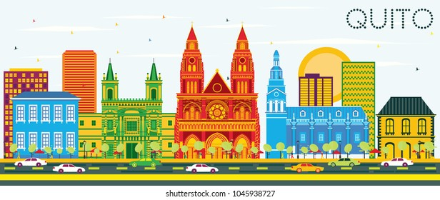Quito Ecuador City Skyline with Color Buildings and Blue Sky. Vector Illustration. Business Travel and Tourism Concept with Historic Architecture. Quito Cityscape with Landmarks.