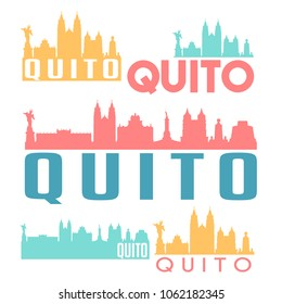 Quito Ecuador Flat Icon Skyline Vector Silhouette Design Set