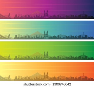 Quito Multiple Color Gradient Skyline Banner