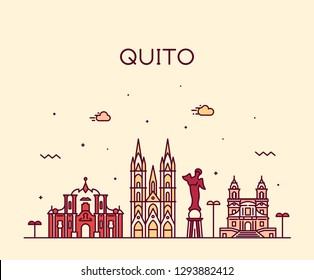 Quito skyline, Ecuador. Trendy vector illustration, linear style