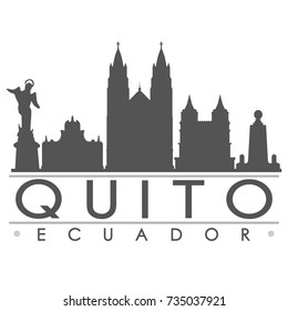 Quito Skyline Silhouette Design City Vector Art Famous Buildings