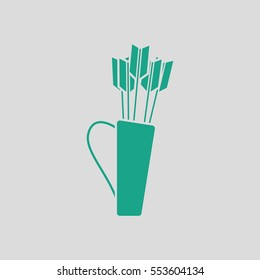 Quiver with arrows icon. Gray background with green. Vector illustration.