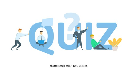 Quiz. Concept with keywords, letters and icons. Colored flat vector illustration on white background.
