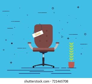 Quiz concept.Work chair