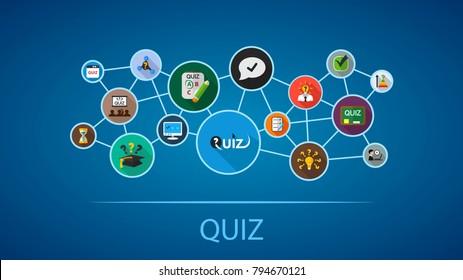 Quiz flat icon concept. Vector illustration. Element template for design.