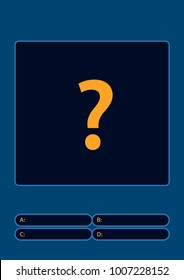 Quiz game with answers . Flat cartoon vector illustration. Quiz brainy game.