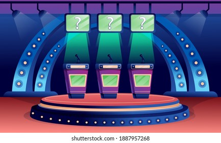 Quiz game stage interior design background. Competition with questions. Television trivia show vector illustration. Three stands with microphones in spotlight, screens with questions.